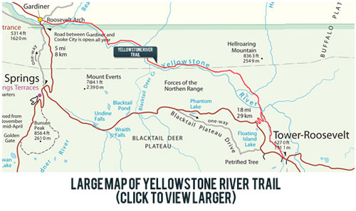 Detailed Map of Yellowstone River Trail | Yellowstone Wildlife